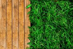Hölzernes und grünes Gras Lizenzfreie Stockfotos