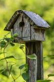 Hölzernes Vogelhaus auf Beitrag mit Laub Lizenzfreies Stockfoto