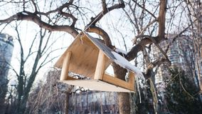 Hölzernes Vogelhaus im schneebedeckten Park Vogelzufuhr im Winter stockbild