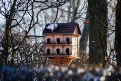 Hölzernes Vogelhaus im Winter auf der Straße auf einem Hintergrund von Bäumen im Schnee lizenzfreies stockbild