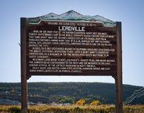 Hölzernes Willkommensschild zur Stadt von Leadville Colorado USA Stockfotos
