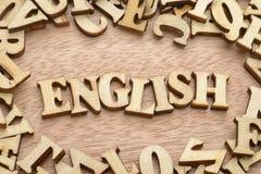 Hölzernes Wort Englisch stockfoto