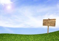 Hölzernes Zeichen auf grünem Feld unter blauem Himmel Lizenzfreie Stockfotografie