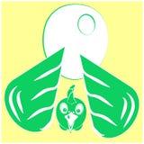 Höna, höna eller hane med det stora ägget Symbol, logo eller tecken för packedesign av organisk mat för eco av ägg eller höns frå stock illustrationer
