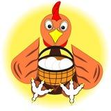 Höna, höna eller hane med korgen av ägg Symbol, logo eller tecken för packedesign av organisk mat för eco av ägg eller höns från  royaltyfri illustrationer