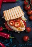 höna grillad smörgås arkivbilder