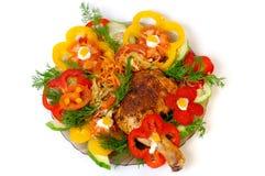 höna grillade grönsaker Royaltyfri Foto