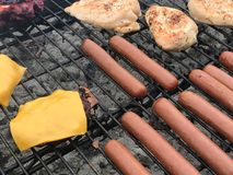 Höna, hamburgare och Hotdogs på gallret Royaltyfri Fotografi