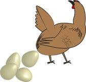 Höna och ägg stock illustrationer