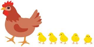 Höna och fågelungar stock illustrationer