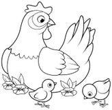 Höna och fågelungar royaltyfri illustrationer