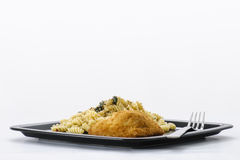 Höna och pasta royaltyfri fotografi