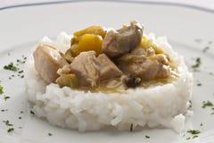 Höna och rice arkivfoton