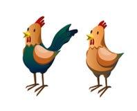 Höna och rooster Arkivfoton
