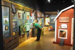 Höna stämplar utställningar på Singapore det filatelistiska museet royaltyfri foto