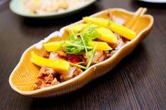 höna stekt mango thailand Royaltyfri Bild