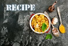 höna stekt rice arkivfoto