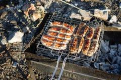 Hönskorvar som lagas mat i ett galler på kol Arkivfoton