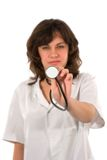 Hören mit Stethoskop Stockbilder