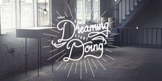 Hören Sie auf, den Anfang zu träumen, der StartbeginnConcepthttp://web tut dreamstime COM/oms_bulk php#row1 Lizenzfreies Stockfoto
