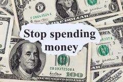Hören Sie auf, Geld auszugeben Lizenzfreie Stockfotos