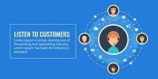 Hören Sie auf Kunden, on-line-Kundenbetreuung, Live-Chat-Servicekonzept Flache Designvektorillustration Stockfotografie