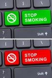 Hören Sie auf, Werbung auf Tastaturknopf zu rauchen Stockfotos