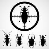 Hören Sie im Fadenkreuz - Insekteninsektenvertilgungsmittel, Schabe ab Stockfotografie