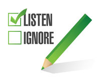 Hören Sie oder ignorieren Sie Auswahlkästchenillustrationsentwurf Lizenzfreie Stockfotos