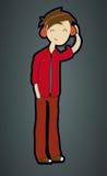Hörende Liede des Karikatur-Jugendlichen Stockfotografie