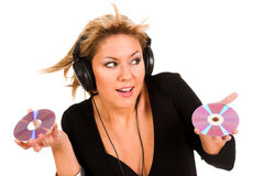 Hörende Musik der Frau Lizenzfreies Stockbild