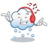 Hörende Musikschneewolken-Charakterkarikatur Lizenzfreie Stockbilder