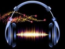 Hörlurar av musik Fotografering för Bildbyråer