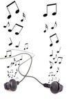 hörlurar isolerade musik Royaltyfri Bild