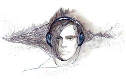 hörlurar lyssnar manmusik till Arkivbilder