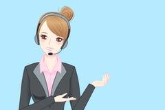 Hörlurar med mikrofon för telefon för affärskvinnakläder Royaltyfria Bilder