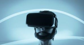 Hörlurar med mikrofon för virtuell verklighetexponeringsglas VR Fotografering för Bildbyråer