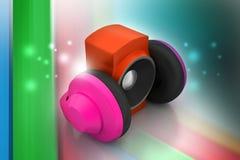 hörlurar med mikrofonhögtalare Arkivfoto