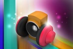 hörlurar med mikrofonhögtalare Arkivfoton