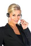 hörlurar med mikrofonkvinna Arkivfoton