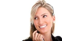 hörlurar med mikrofonkvinna Fotografering för Bildbyråer