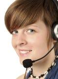 hörlurar med mikrofonkvinnor Fotografering för Bildbyråer