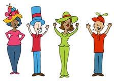 Hörlurar med mikrofonoperatörsarbetare som bär roliga hattar Royaltyfri Fotografi