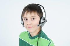 hörlurar med mikrofontonåring arkivbilder