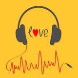 Hörlurar med röd kabel i form av kardiogramtracklinen papper för förälskelse för bakgrundskortgrunge Användbart för olik design S stock illustrationer