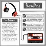 Hörlurar och audiocassette Infographics Arkivfoto