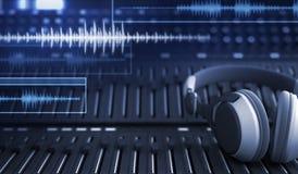 Hörlurar och ljudsignalspår royaltyfri illustrationer