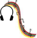 Hörlurar och musik Arkivbild