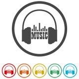 Hörlurar och ordmusik, 6 inklusive färger Arkivfoton