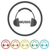 Hörlurar och ordmusik, 6 inklusive färger Royaltyfri Fotografi